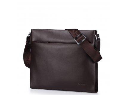 Pánská kožená taška přes rameno Sammons A4 hnědá