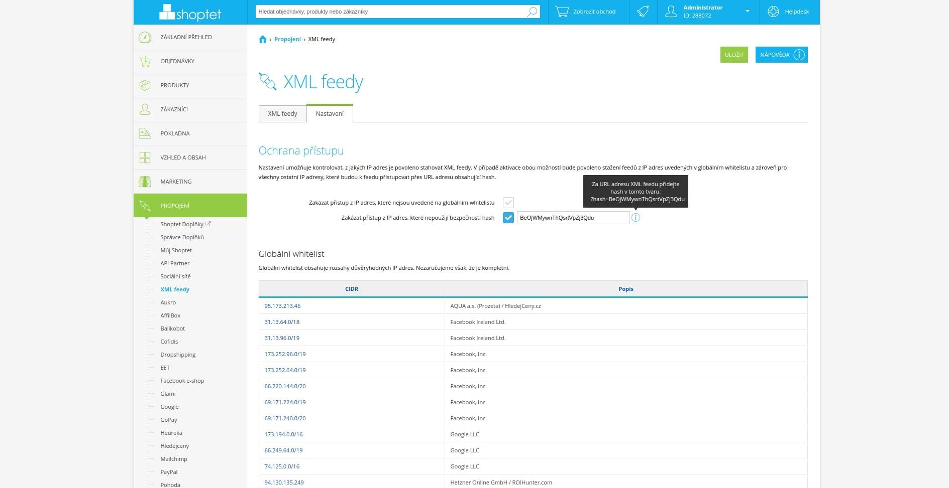 shoptet xml feed zabazpečení