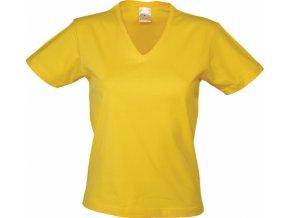 Dámské tričko do V (Barvičkaa žlutá, Velikost XS, Varianta potisku varianta 12_výšivka (záda SV - SV web))