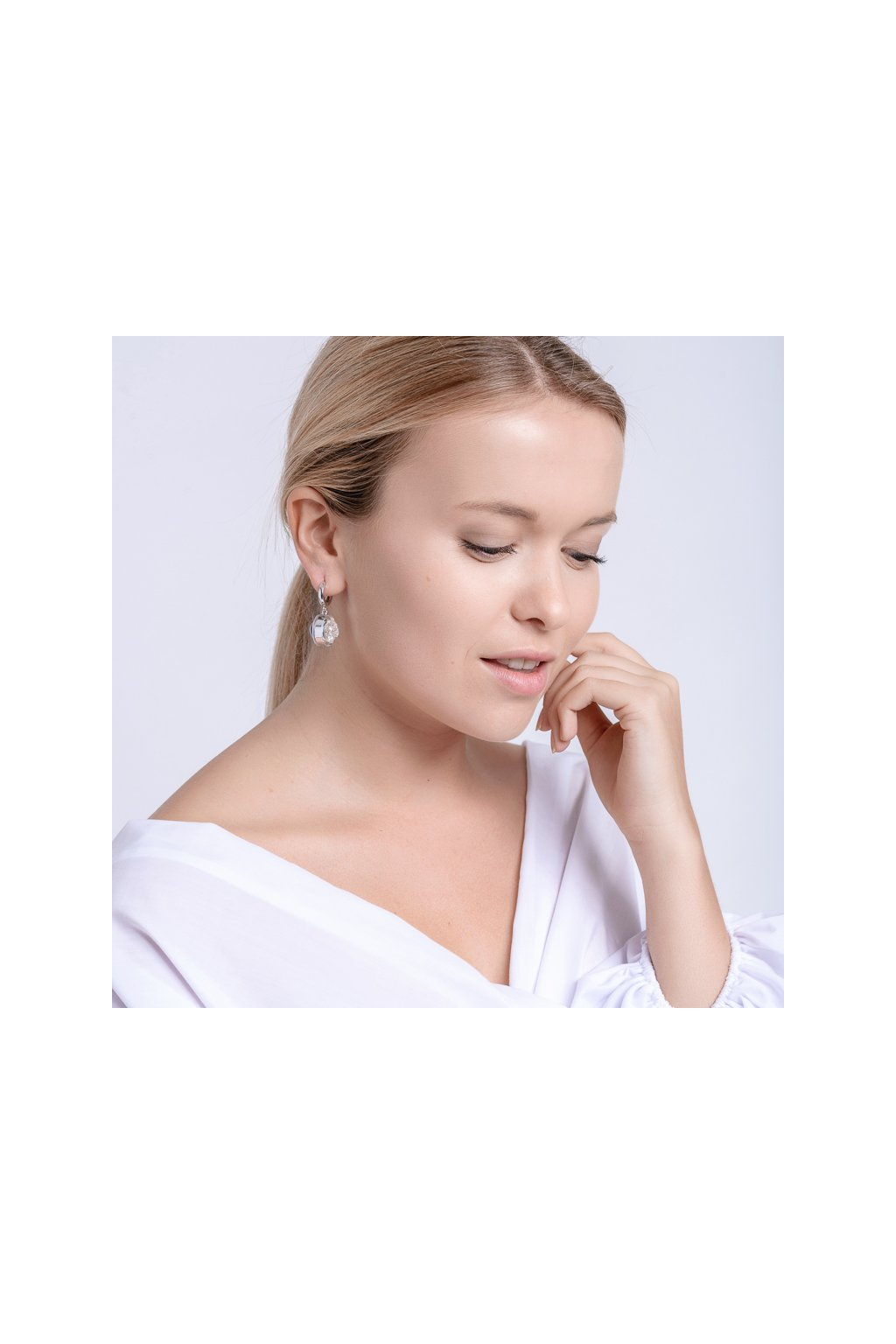 8d56aa5ea Silver earrings Singularis with Bohemian crystal stones Preciosa, white -  PRECIOSA eshop
