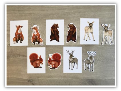 DIY oboustranný tisk -  set zvířátka z lesa