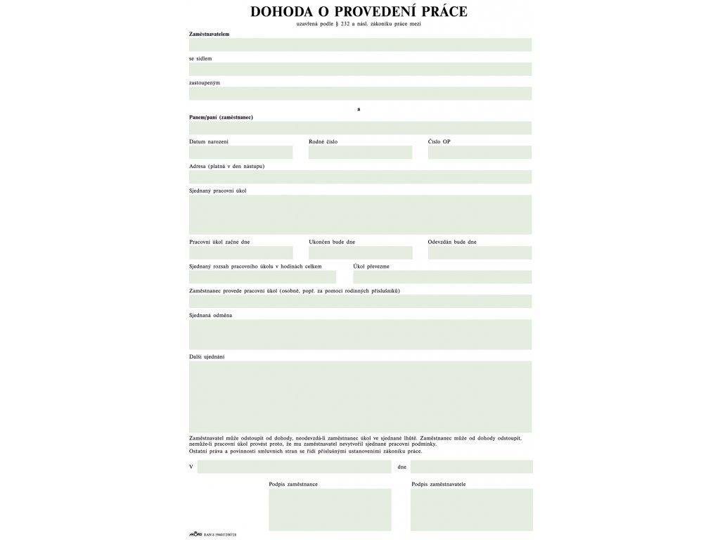 Dohoda o provedení práce, A4