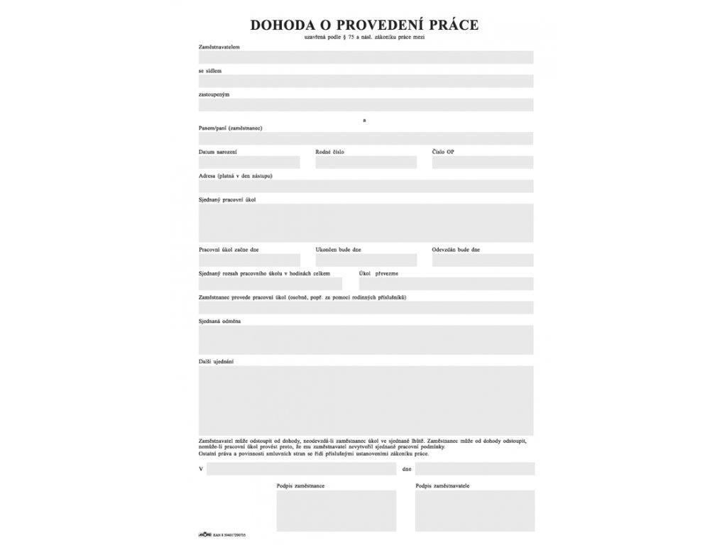 073 dohoda o provedení prace