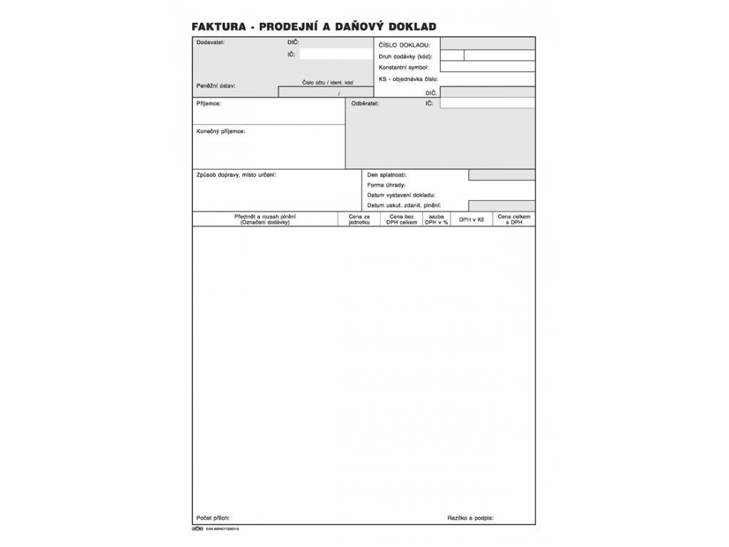 001 Faktura daňový doklad A4