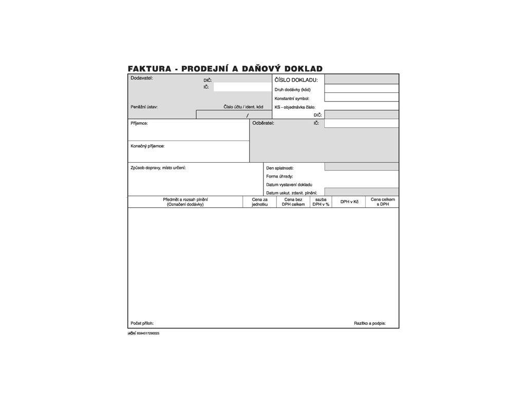 002 Faktura Prodejní a daňový doklad 2 3 A4