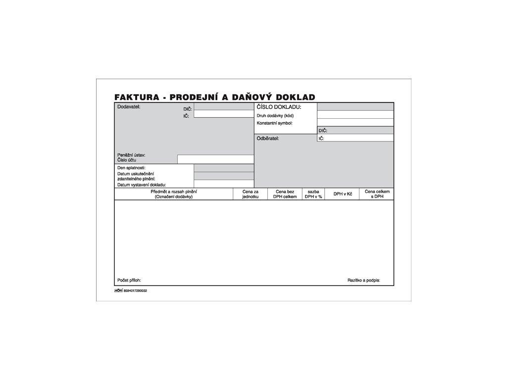 003 Faktura Prodejní a daňový doklad 1 2 A4