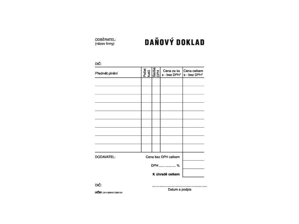012 Daňový doklad A6