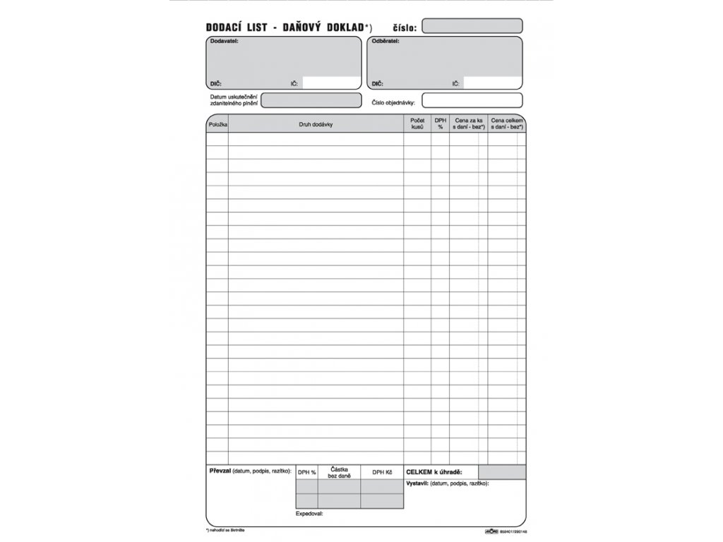 014 Dod. list daňový doklad A4