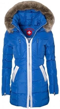 Modrá luxusná zimná bunda kožušina