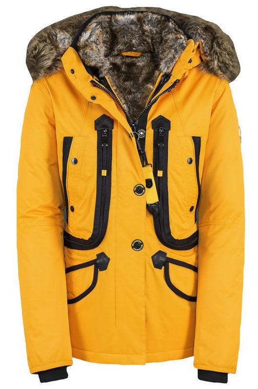 Luxusná žltá dámska zimná bunda kožušina kapucňa