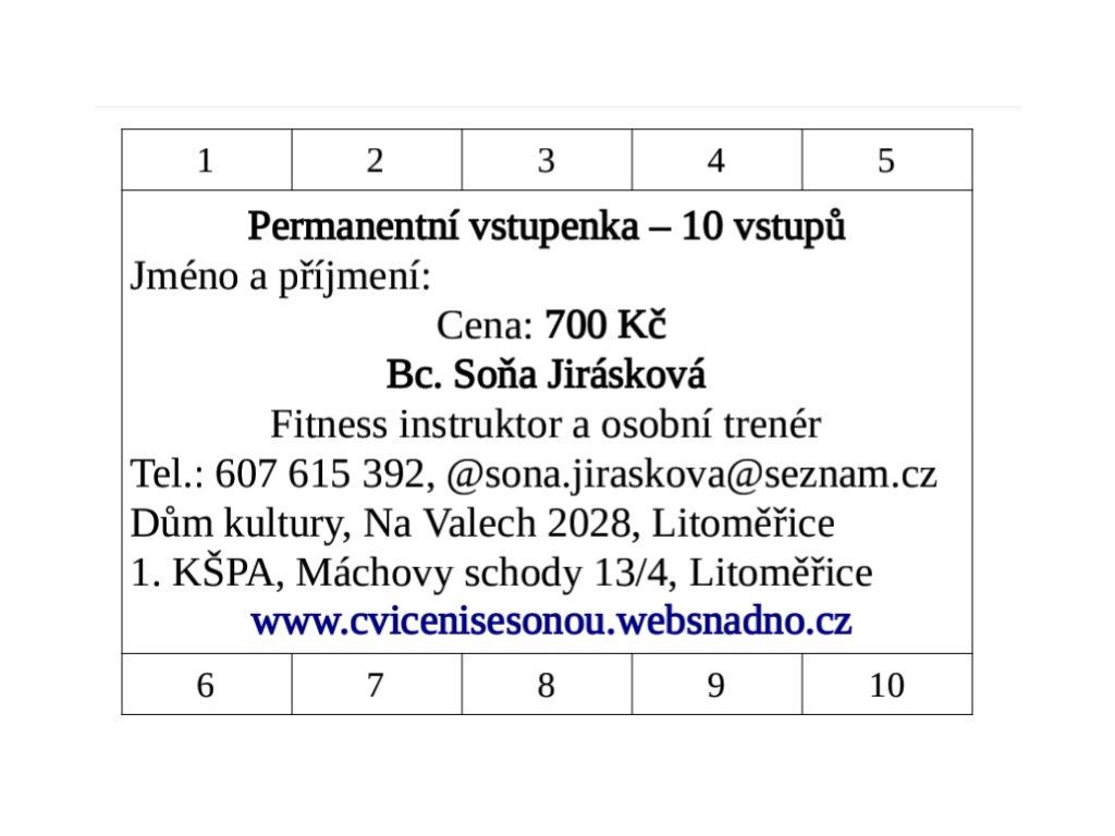 Permanentní vstupenka 10 vstupů Kalanetika, Pilates