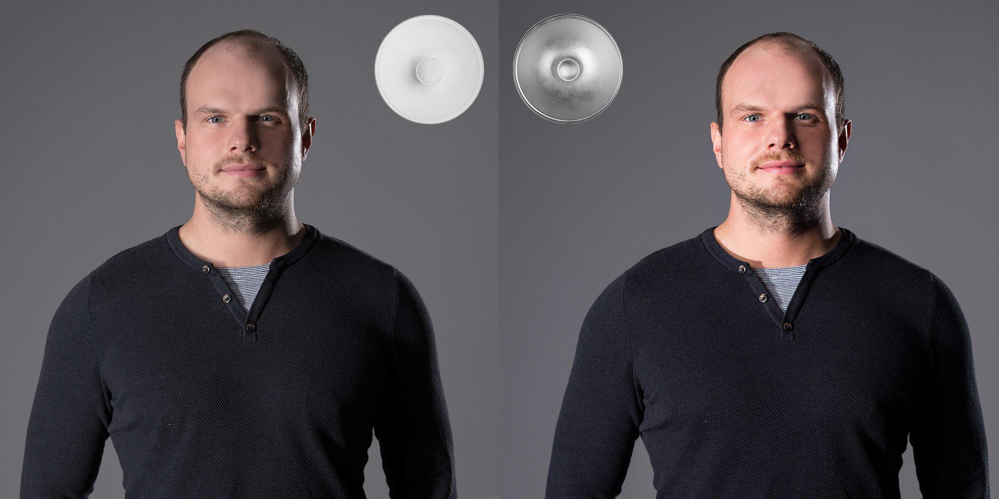beauty dish srovnání | rozdíl bílý - stříbrný