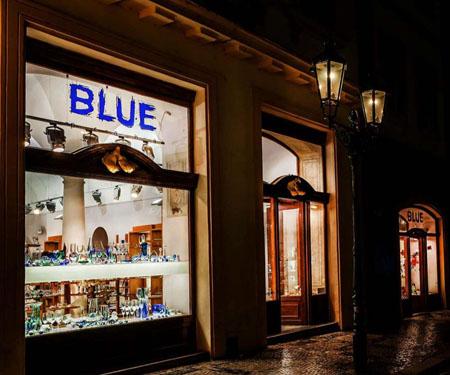 Obchod Blue Praha v historickém centru Prahy.