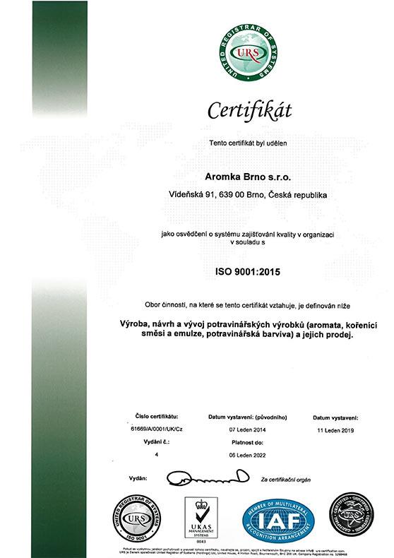 ISO 14001:2015 - zobrazit jen certifikát