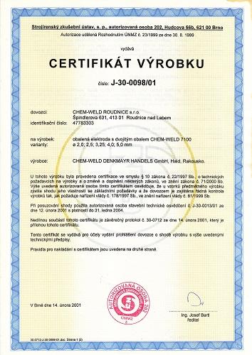 certifikát výrobku 7100