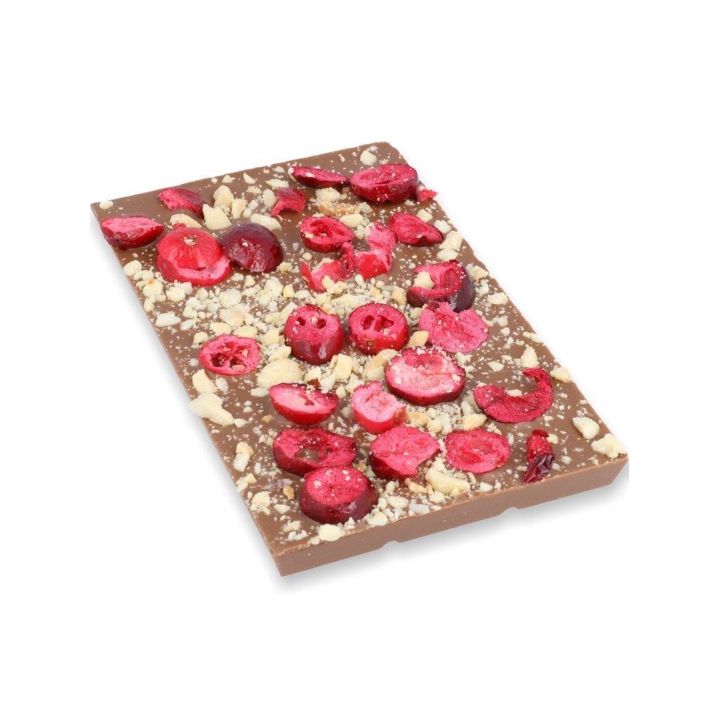 čokoládová tabulka 100g - drcené mandle + mrazem sušené brusinky