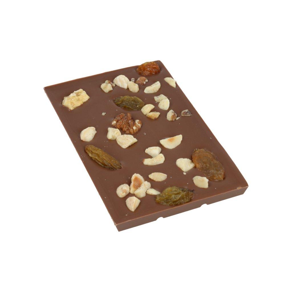 čokoládová tabulka 100g - student mix (lískové a vlašské ořechy, mandle, rozinky)