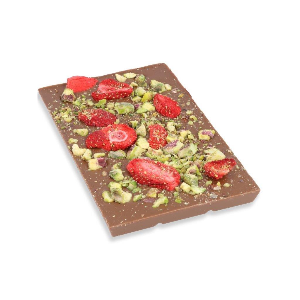 čokoládová tabulka 100g - pistácie + mrazem sušené jahody