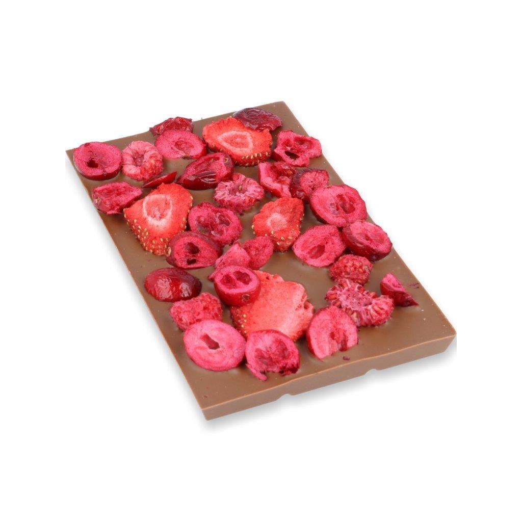 čokoládová tabulka 100g - lesní ovoce (mrazem sušené maliny, brusinky, jahody)