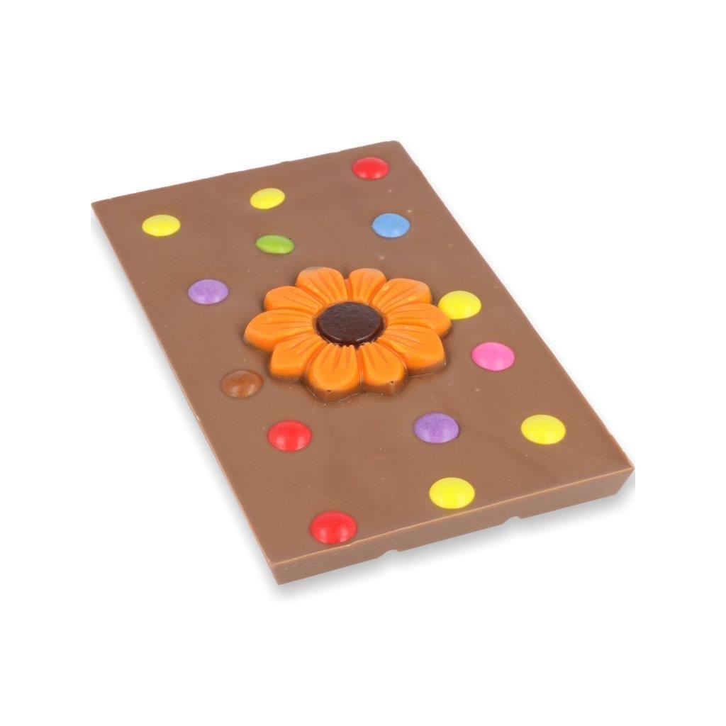 čokoládová tabulka 115g - kulatá květina + lentilky