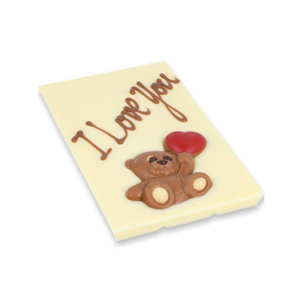 čokoládová tabulka 115g - medvěd se srdcem + text I love You