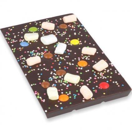 čokoládová tabulka 100g - lentilky + marshmallow