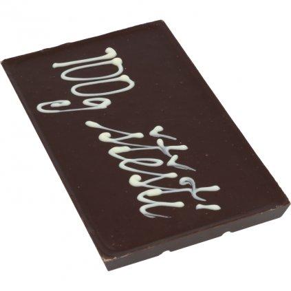"""čokoládová tabulka 100g - text """"100g štěstí"""""""