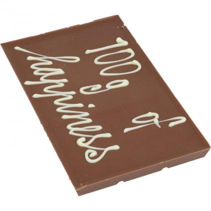 """čokoládová tabulka 100g - text """"100g of happiness"""""""