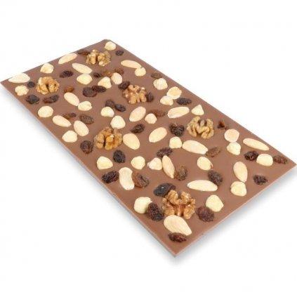 Čokoládová tabulka 300g - student mix (lískové a vlašské ořechy, mandle, rozinky)