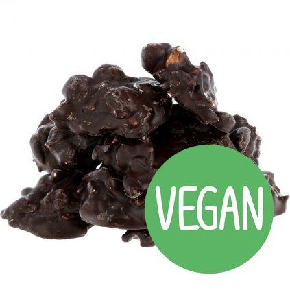 Hrudky ořechové (mandle + lískáč) VEGAN - hořké 72% BEZOBAL