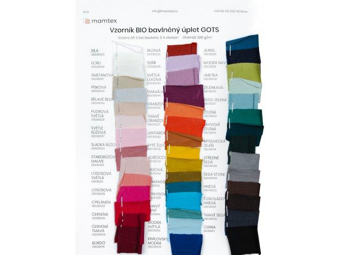 Jednolíc úplet GOTS - 95 % bavlna 5 % elastan