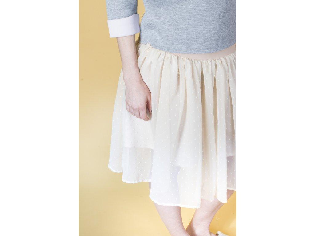 Áčková šifonová sukně s puntíky - Akari 49b44efef9