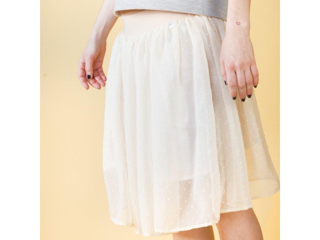 Áčková šifonová sukně s puntíky. Novinka Tip. title 77ff32b854