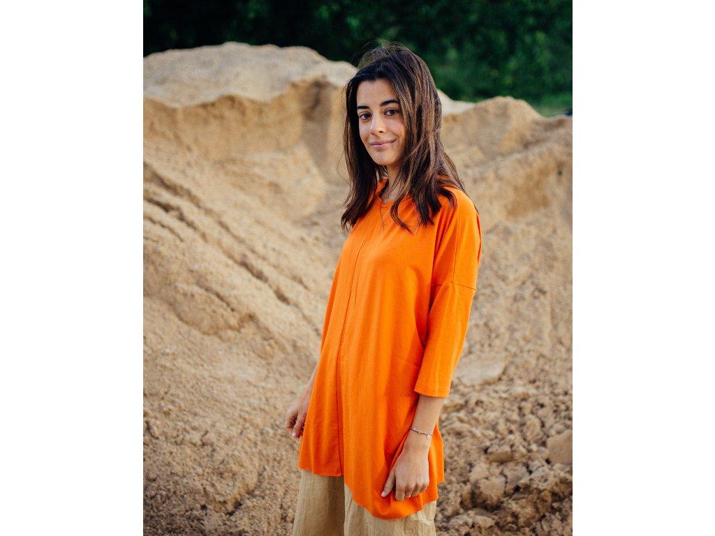 Viskózové oversized tričko Orange