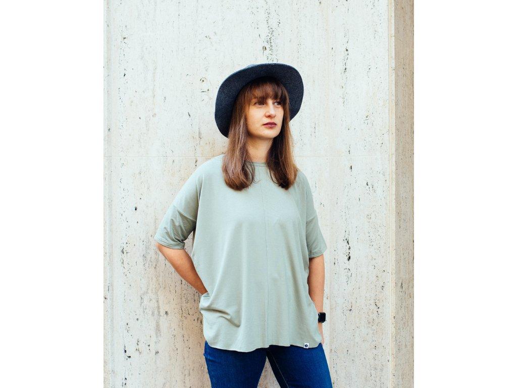Viskózové tričko Olive