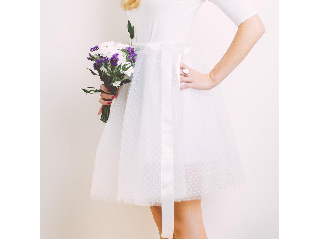 tylová sukně TUTU white dots - Akari 72c1cf87a8