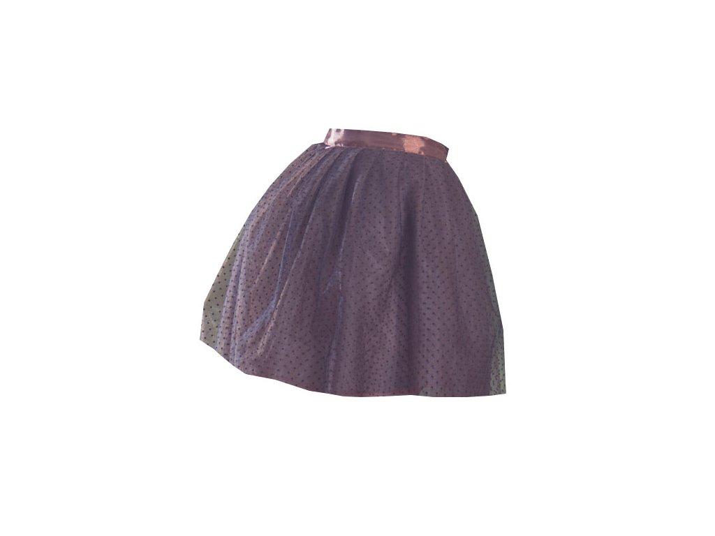 tylová sukně TUTU Brown dots - Akari 86b7e7c126