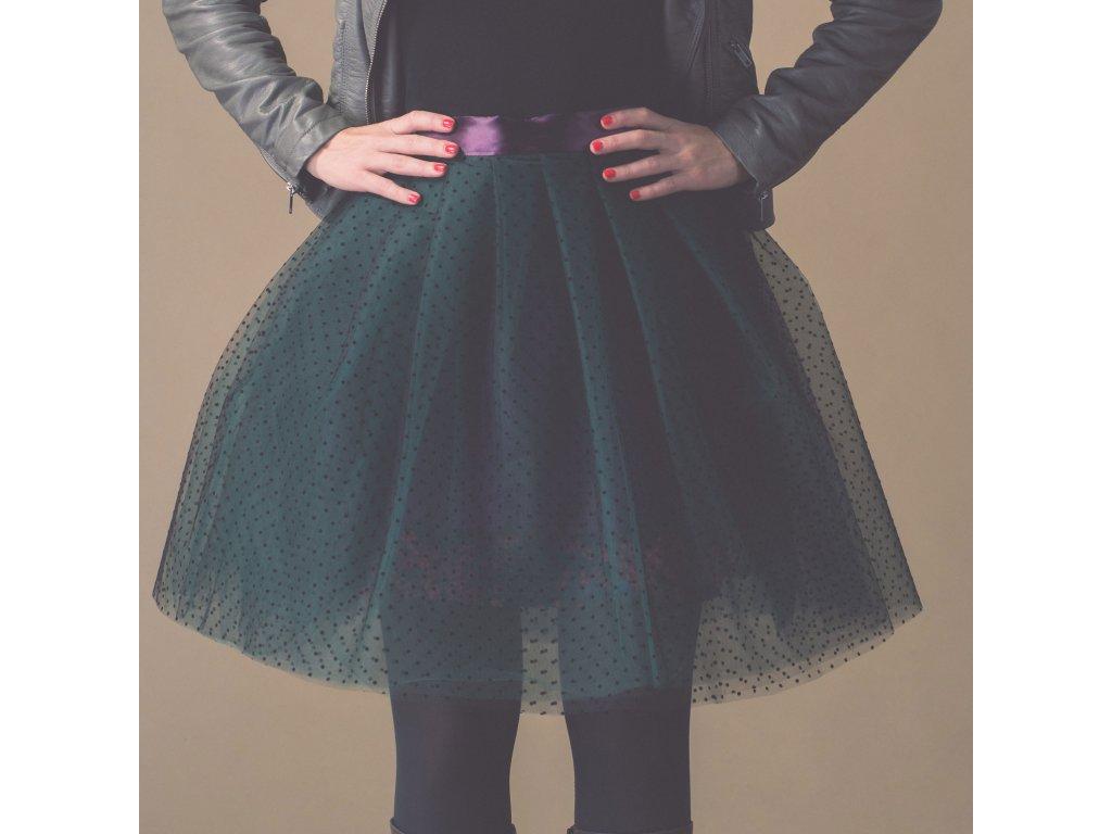 tylová sukně TUTU Aubergine