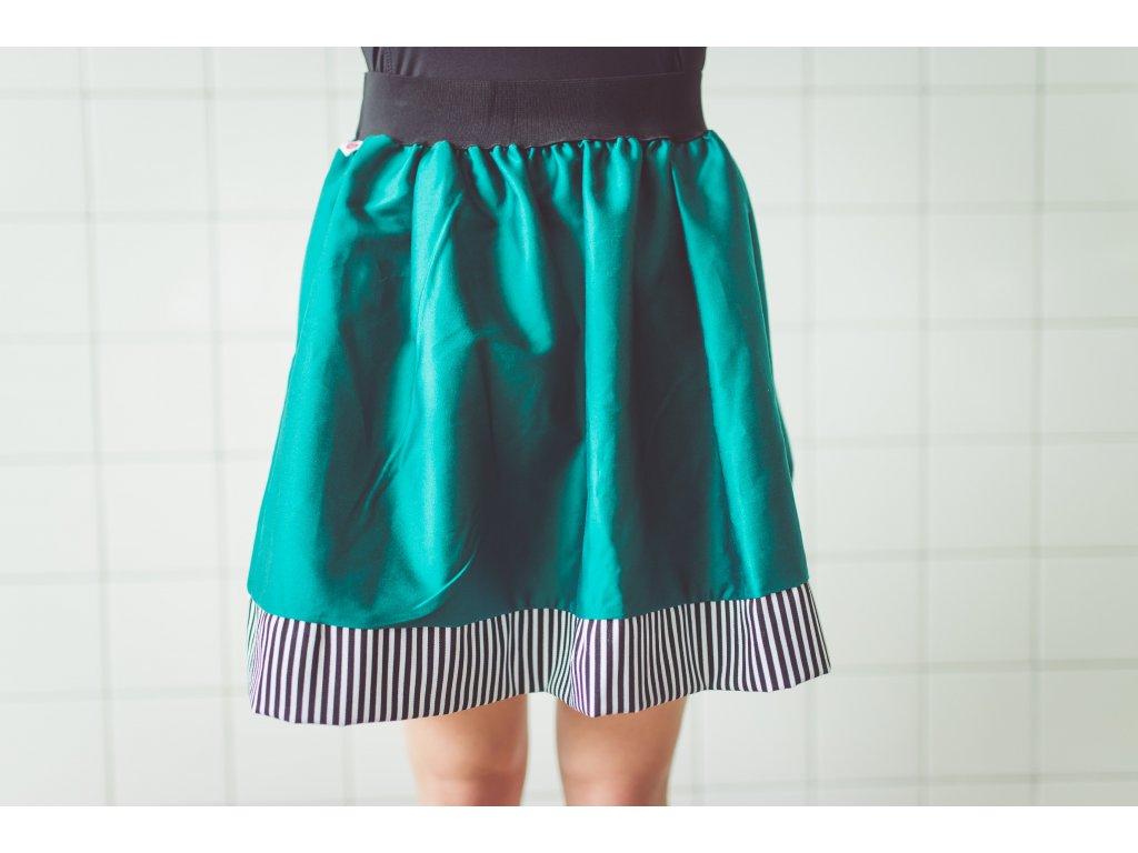 áčková sukně Stripes turquoise s černou gumou