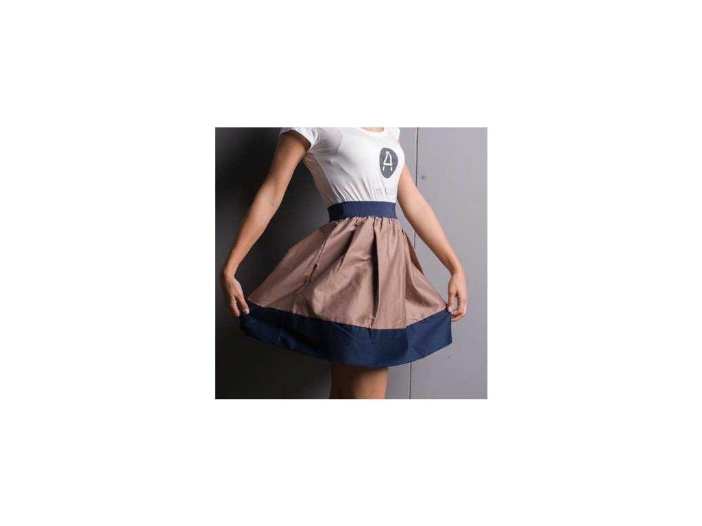 áčková sukně Tricol beige modrý lem
