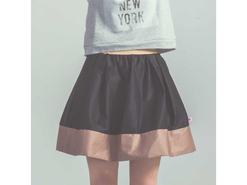 áčková sukně Tricol black béžový lem
