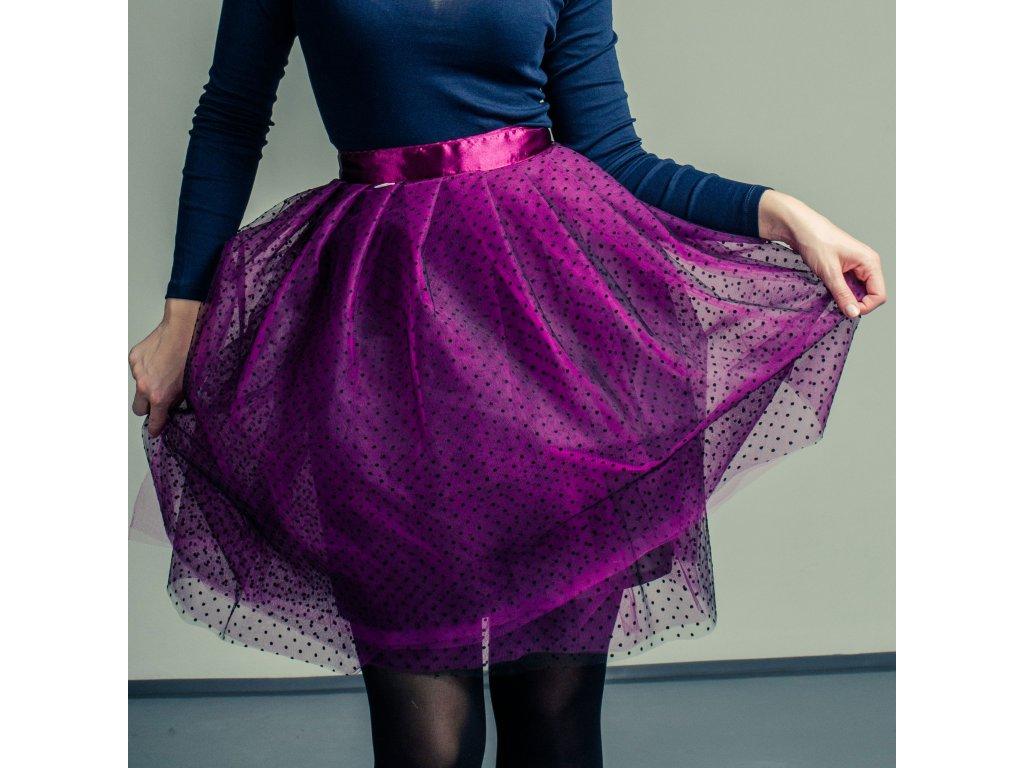 tylová sukně TUTU Superdots Magenta