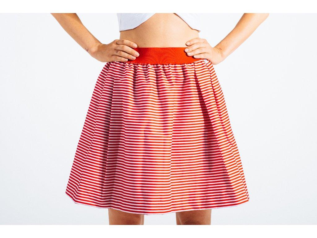 námořnická pruhovaná sukně Hello Sailor red s kapsami