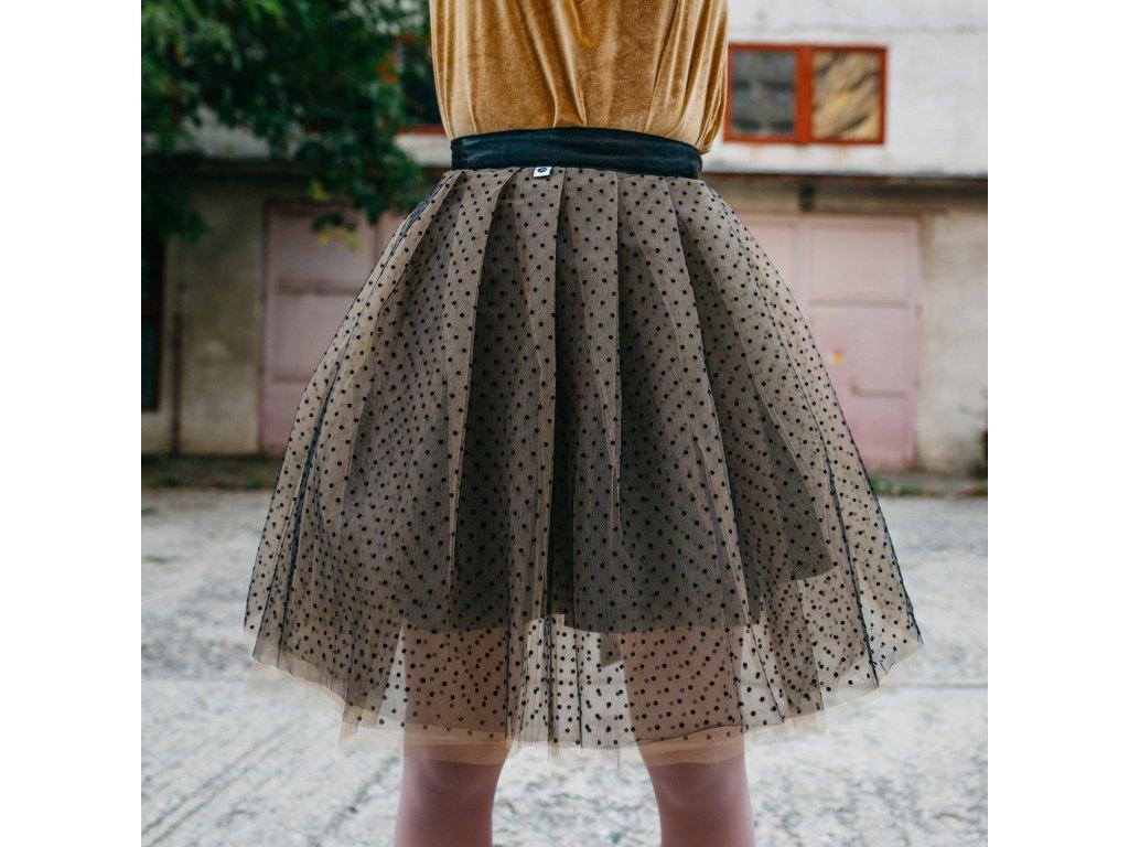 tylová sukně TUTU Pale brown dots