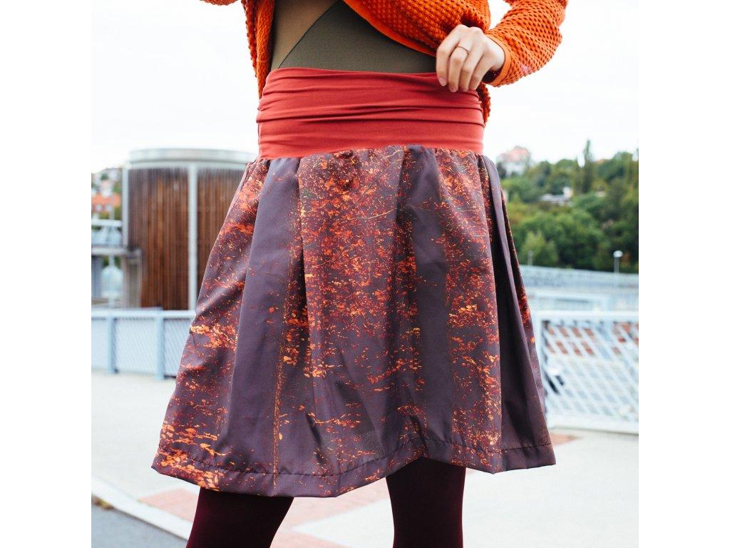 áčková sukně Autumn forrest s lykrou