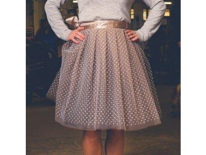 tylová sukně TUTU mocca dots