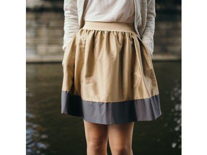 áčková sukně Tricol beige šedý lem