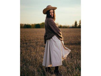 Kolová sukně Midi Beige
