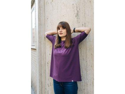 Viskózové tričko Aubergine