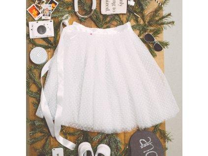 tylová sukně TUTU white dots